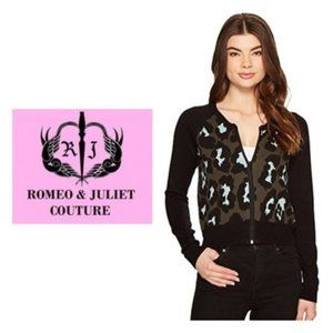 Romeo Juliet Black Leopard Sweater Jacket Sz S NWT